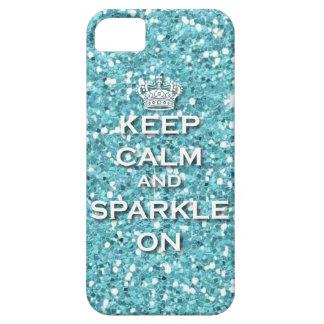 Custom Blue Keep Calm & Sparkle On IPhone5 Case