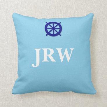 Beach Themed Custom Blue Monogram Nautical Throw Pillow