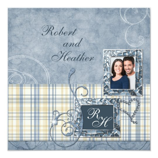 Custom Blue Monogram Photo Wedding Invitations