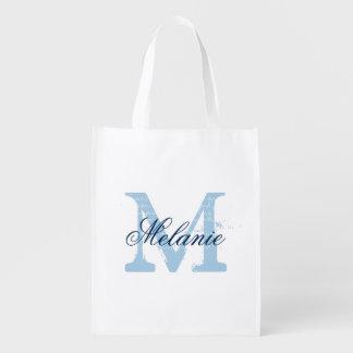 Custom blue monogram reusable grocery shopping bag reusable grocery bags