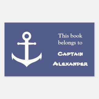 Custom Blue Nautical Bookplate Sticker
