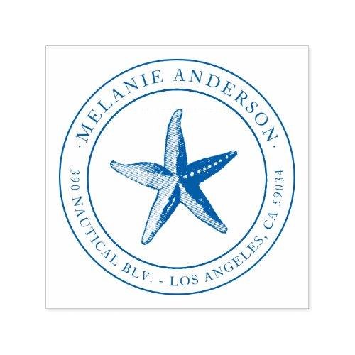 Custom Blue Nautical Starfish Name Return Address Self_inking Stamp