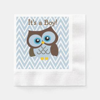 Custom Blue Owl & Blue Chevron Zigzag Napkins Paper Napkin