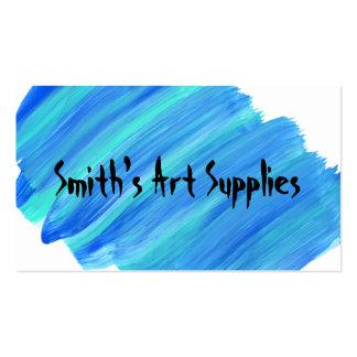 Custom Blue Paint Streaked Art Supply Store Business Card