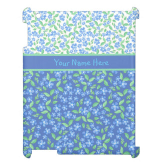 Custom Blue Periwinkles Ditsy Floral Patterns iPad Cover