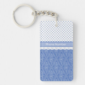 Custom Blue Periwinkles Polka Dots Faux Lace Keychain