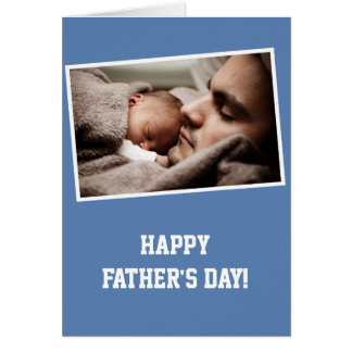 Custom Blue Photo Happy Fathers Day Cards