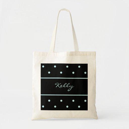 Custom Blue Polka Dot Bridesmaid Tote Bag