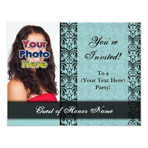 "Custom Blue Pretty Party Invitation 4.25"" X 5.5"" Invitation Card"