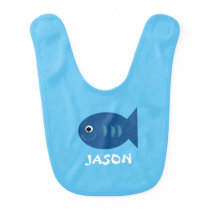 Custom Blue Smiling Fish Baby Bib