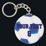 "Custom Blue Soccer Ball Keychain<br><div class=""desc"">Click &quot;Customize It&quot; to modify the design further. Add your own text to personalize the design on this customizable soccer keyring just for you. Ideal for the soccer fan in your life, change the text to their favorite team and alter the color to match the strip. There are two layers,...</div>"