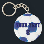 """Custom Blue Soccer Ball Keychain<br><div class=""""desc"""">Click &quot;Customize It&quot; to modify the design further. Add your own text to personalize the design on this customizable soccer keyring just for you. Ideal for the soccer fan in your life, change the text to their favorite team and alter the color to match the strip. There are two layers,...</div>"""