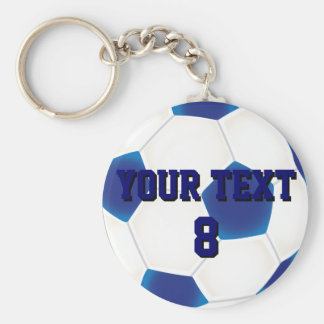 Custom Blue Soccer Ball Keychain