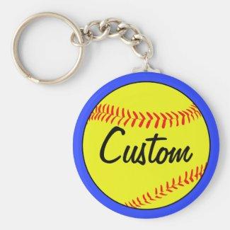 Custom Blue Softball Keychain