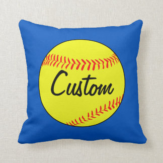 Custom Blue Softball Throw Pillow