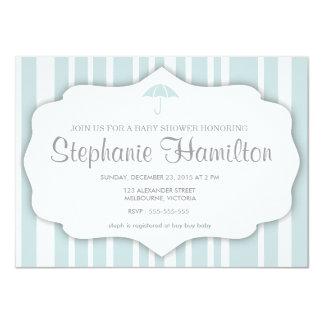 Custom blue stripes umbrella baby shower card