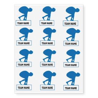 Custom Blue Swim Team Tattoo Sheet
