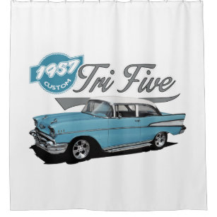 Custom Blue Tri Five Shower Curtain