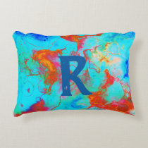 Custom Blue Turquoise Watercolor Accent Pillow