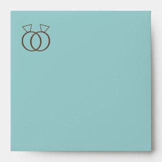 Custom Blue Wedding Rings Invitation Envelope