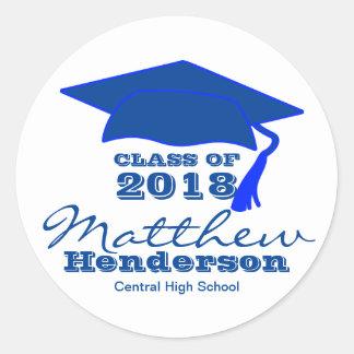 Custom Blue & White Graduation Stickers for Boy