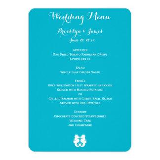 Custom Blue White Seahorse Wedding Menu Card
