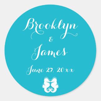 Custom Blue White Seahorse Wedding Stickers