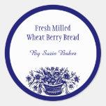 Custom Blue White Vintage Flowers Baking Stickers