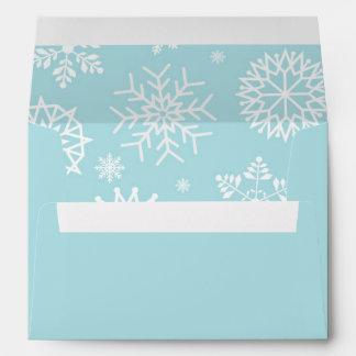Custom Blue Winter Snowflake Christmas Holidays 2 Envelope
