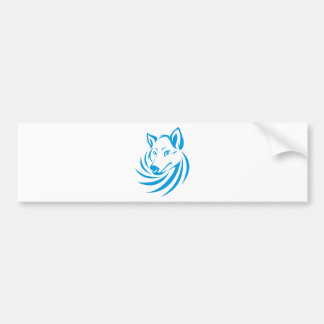 Custom Blue Wolf Logo Bumper Sticker