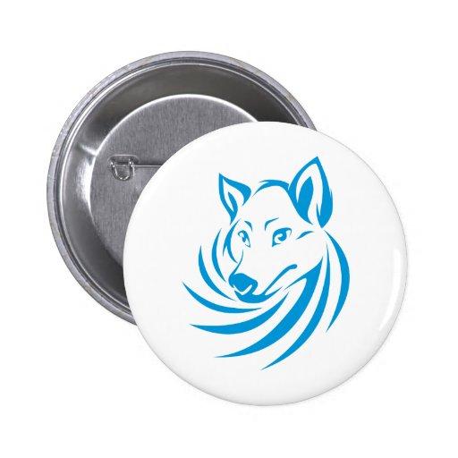 Custom Blue Wolf Logo Button