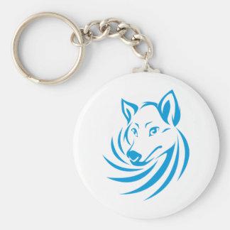 Custom Blue Wolf Logo Key Chain