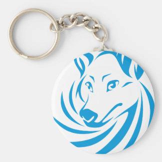 Custom Blue Wolf Logo Keychains