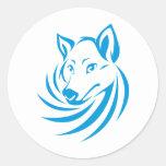 Custom Blue Wolf Logo Round Sticker
