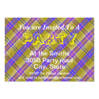 Custom Blue Yellow and Pink Plaid Pattern Card