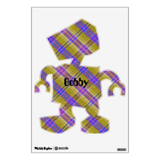 Custom Blue Yellow and Pink Plaid Pattern Wall Decal