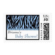 Custom Blue Zebra Print Baby Shower Postage