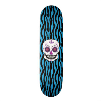 Custom Blue Zebra Print Purple Candy Skull Deck