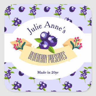 Custom•Blueberry Preserves DIY Canning Square Sticker