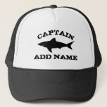 "Custom boat captain hat with shark logo<br><div class=""desc"">Custom name boat captain hat with shark logo. Vintage typography template for sailor, fisher or skipper. Make your own personalized cap for fishing, sailing or boating. Black and white symbol with grungy text. Cool masculine Birthday or nautical Fathers Day gift idea for men. Make your own for dad, uncle, father,...</div>"