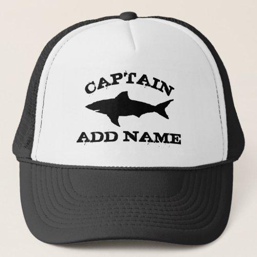 Custom boat captain hat with shark logo
