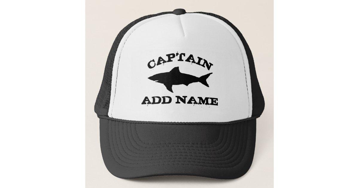 Custom boat captain hat with shark logo | Zazzle com