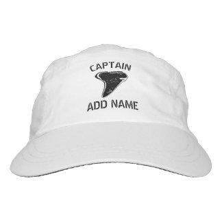 Custom boat captain hat with shark tooth logo