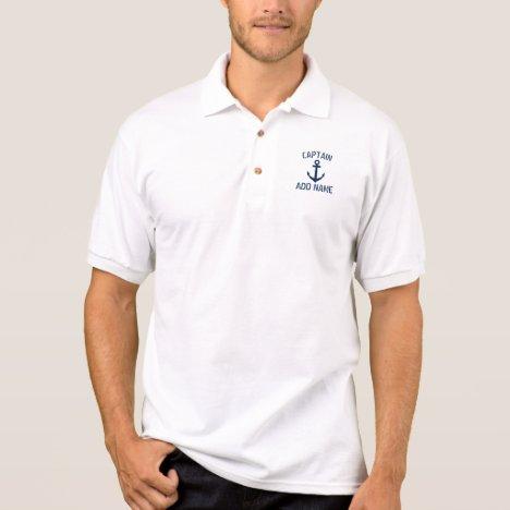 Custom boat captain name anchor white polo shirt