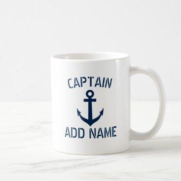 logotees Custom boat captain name navy anchor coffee mug