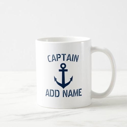 Custom boat captain name navy anchor coffee mug