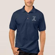 Custom Boat Captain Name Navy Anchor Polo Shirt at Zazzle