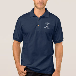 1c8fb383 Custom boat captain name navy anchor polo shirt