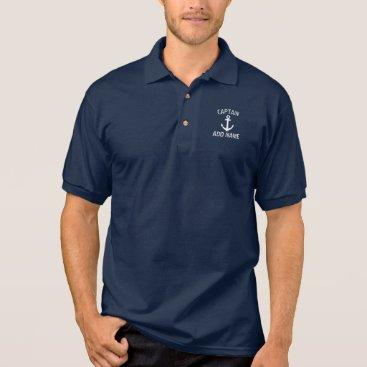 logotees Custom boat captain name navy anchor polo shirt