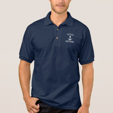 logotees Custom boat captain name navy anchor polo shirt
